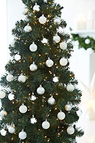 HEITMANN DECO 49er Set Christbaumkugeln 4 cm - Weihnachtsschmuck Weiß Silber Glänzend zum Aufhängen - Kunststoffkugeln Weihnachtsbaum - 3