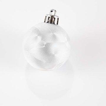 HEITMANN DECO 49er Set Christbaumkugeln 4 cm - Weihnachtsschmuck Weiß Silber Glänzend zum Aufhängen - Kunststoffkugeln Weihnachtsbaum - 5