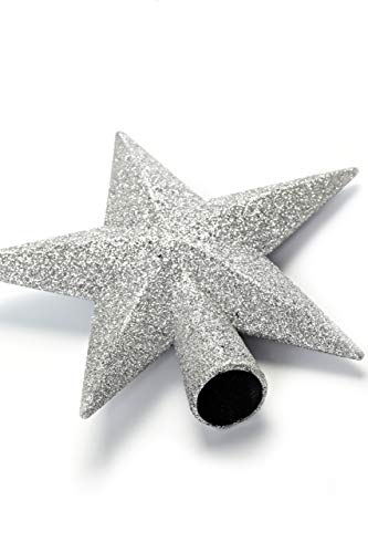 HEITMANN DECO Christbaumspitze Weihnachtsstern aus Kunststoff - Weihnachtsbaumspitze Weihnachtsdeko - Silber mit Glitzer - 2