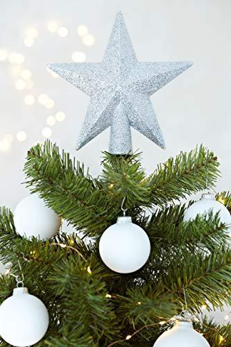 HEITMANN DECO Christbaumspitze Weihnachtsstern aus Kunststoff - Weihnachtsbaumspitze Weihnachtsdeko - Silber mit Glitzer - 5