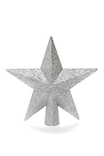 HEITMANN DECO Christbaumspitze Weihnachtsstern aus Kunststoff - Weihnachtsbaumspitze Weihnachtsdeko - Silber mit Glitzer - 1