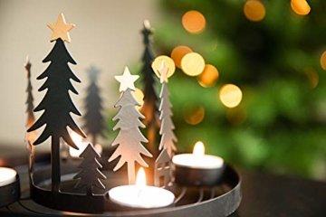 HEITMANN DECO runder Teelicht-Kerzenhalter aus Metall - Advents-Teelichthalter - Kerzenständer für 4 Teelichter - schwarz - 3