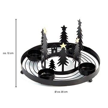HEITMANN DECO runder Teelicht-Kerzenhalter aus Metall - Advents-Teelichthalter - Kerzenständer für 4 Teelichter - schwarz - 4