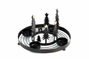 HEITMANN DECO runder Teelicht-Kerzenhalter aus Metall - Advents-Teelichthalter - Kerzenständer für 4 Teelichter - schwarz - 1