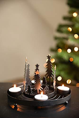 HEITMANN DECO runder Teelicht-Kerzenhalter aus Metall - Advents-Teelichthalter - Kerzenständer für 4 Teelichter - schwarz - 5
