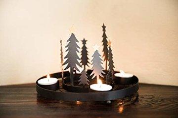 HEITMANN DECO runder Teelicht-Kerzenhalter aus Metall - Advents-Teelichthalter - Kerzenständer für 4 Teelichter - schwarz - 6