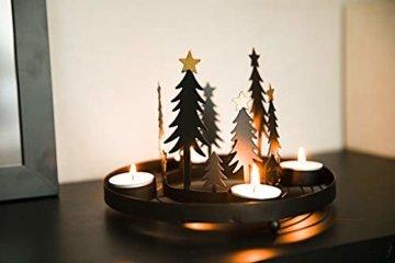 HEITMANN DECO runder Teelicht-Kerzenhalter aus Metall - Advents-Teelichthalter - Kerzenständer für 4 Teelichter - schwarz - 7