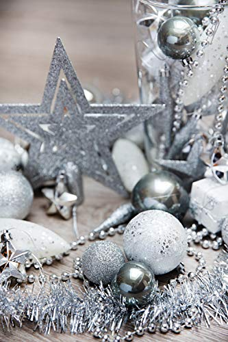 HEITMANN DECO Weihnachtsbaum-Schmuck - Silber - 60-teilig - Set inkl. Baumspitze, Kugeln, Perlkette, Girlande und Sterne - Kunststoff - 2