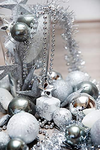 HEITMANN DECO Weihnachtsbaum-Schmuck - Silber - 60-teilig - Set inkl. Baumspitze, Kugeln, Perlkette, Girlande und Sterne - Kunststoff - 5