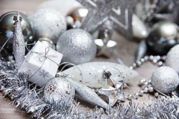 HEITMANN DECO Weihnachtsbaum-Schmuck - Silber - 60-teilig - Set inkl. Baumspitze, Kugeln, Perlkette, Girlande und Sterne - Kunststoff - 6