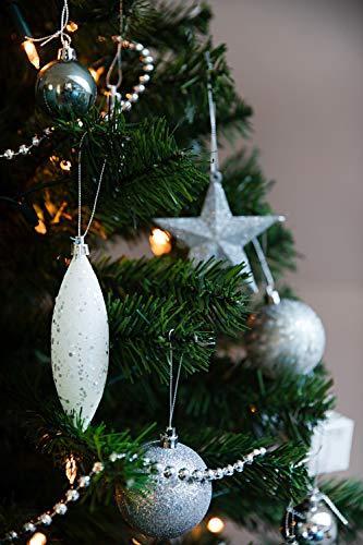 HEITMANN DECO Weihnachtsbaum-Schmuck - Silber - 60-teilig - Set inkl. Baumspitze, Kugeln, Perlkette, Girlande und Sterne - Kunststoff - 1
