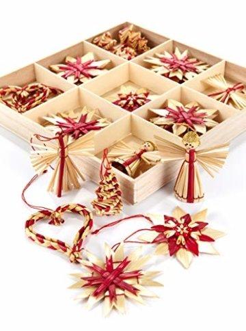 HEITMANN DECO Weihnachtsbaumschmuck aus Stroh - Stroh Baumbehang mit roten Akzenten - 25-teiliges Set - Christbaum Anhänger aus natürlichem Material - 2