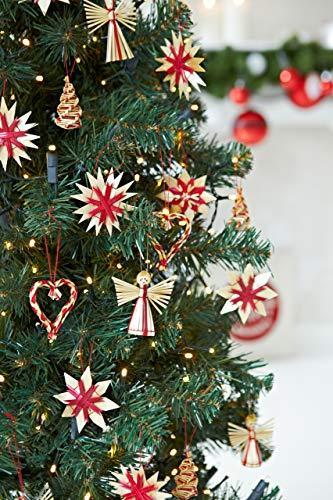 HEITMANN DECO Weihnachtsbaumschmuck aus Stroh - Stroh Baumbehang mit roten Akzenten - 25-teiliges Set - Christbaum Anhänger aus natürlichem Material - 3