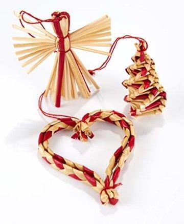 HEITMANN DECO Weihnachtsbaumschmuck aus Stroh - Stroh Baumbehang mit roten Akzenten - 25-teiliges Set - Christbaum Anhänger aus natürlichem Material - 4