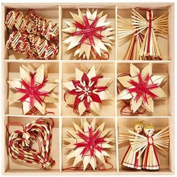 HEITMANN DECO Weihnachtsbaumschmuck aus Stroh - Stroh Baumbehang mit roten Akzenten - 25-teiliges Set - Christbaum Anhänger aus natürlichem Material - 1