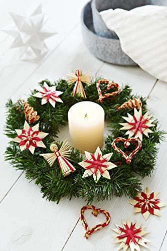 HEITMANN DECO Weihnachtsbaumschmuck aus Stroh - Stroh Baumbehang mit roten Akzenten - 25-teiliges Set - Christbaum Anhänger aus natürlichem Material - 5