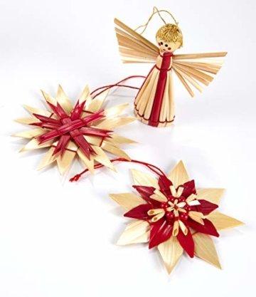 HEITMANN DECO Weihnachtsbaumschmuck aus Stroh - Stroh Baumbehang mit roten Akzenten - 25-teiliges Set - Christbaum Anhänger aus natürlichem Material - 6