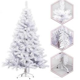 Hengda® 150CM Künstlicher Weihnachtsbaum Tannenbaum Christbaum Kunsttanne mit Metallfuß WEIß - 1
