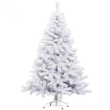 Hengda® 150CM Künstlicher Weihnachtsbaum Tannenbaum Christbaum Kunsttanne mit Metallfuß WEIß - 4