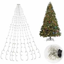 Hengda LED Baummantel Lichterkette mit Ring, 10 Stränge 280 LEDs, Christbaumbeleuchtung LED Lichternetz Warmweiß für ca. 150-250 cm Weihnachtsbaum - 1