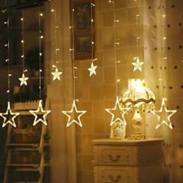 Hengda LED Lichtervorhang, Sterne Lichterkette, Warmweiß LED String Licht mit 8 Modi Dimmbar, 138 LEDs Lichterkettenvorhang, IP44 Wasserfest für Kinderzimmer, Weihnachten, Party, Hochzeit, Garten DIY - 1