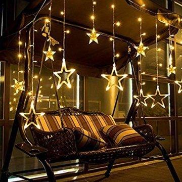 Hengda LED Lichtervorhang, Sterne Lichterkette, Warmweiß LED String Licht mit 8 Modi Dimmbar, 138 LEDs Lichterkettenvorhang, IP44 Wasserfest für Kinderzimmer, Weihnachten, Party, Hochzeit, Garten DIY - 4