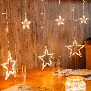 Hengda LED Lichtervorhang, Sterne Lichterkette, Warmweiß LED String Licht mit 8 Modi Dimmbar, 138 LEDs Lichterkettenvorhang, IP44 Wasserfest für Kinderzimmer, Weihnachten, Party, Hochzeit, Garten DIY - 5