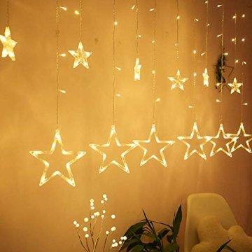 Hengda LED Lichtervorhang, Sterne Lichterkette, Warmweiß LED String Licht mit 8 Modi Dimmbar, 138 LEDs Lichterkettenvorhang, IP44 Wasserfest für Kinderzimmer, Weihnachten, Party, Hochzeit, Garten DIY - 6