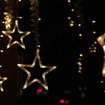 Hengda LED Lichtervorhang, Sterne Lichterkette, Warmweiß LED String Licht mit 8 Modi Dimmbar, 138 LEDs Lichterkettenvorhang, IP44 Wasserfest für Kinderzimmer, Weihnachten, Party, Hochzeit, Garten DIY - 7