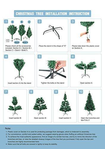 HENGMEI 210cm PVC Weihnachtsbaum Tannenbaum Christbaum Weiß künstlicher mit Metallständer ca.750 Spitzen Lena Weihnachtsdeko (Weiß PVC, 210cm) - 2
