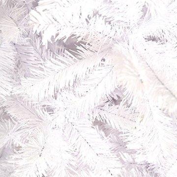 HENGMEI 210cm PVC Weihnachtsbaum Tannenbaum Christbaum Weiß künstlicher mit Metallständer ca.750 Spitzen Lena Weihnachtsdeko (Weiß PVC, 210cm) - 3