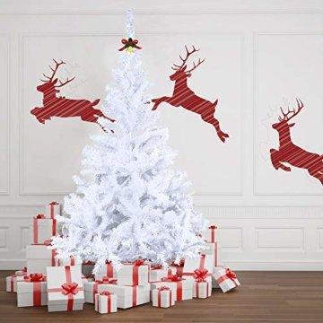 HENGMEI 210cm PVC Weihnachtsbaum Tannenbaum Christbaum Weiß künstlicher mit Metallständer ca.750 Spitzen Lena Weihnachtsdeko (Weiß PVC, 210cm) - 4