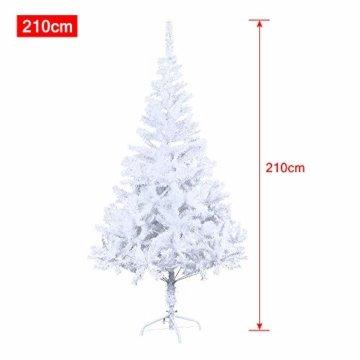 HENGMEI 210cm PVC Weihnachtsbaum Tannenbaum Christbaum Weiß künstlicher mit Metallständer ca.750 Spitzen Lena Weihnachtsdeko (Weiß PVC, 210cm) - 5