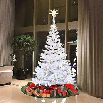 HENGMEI 210cm PVC Weihnachtsbaum Tannenbaum Christbaum Weiß künstlicher mit Metallständer ca.750 Spitzen Lena Weihnachtsdeko (Weiß PVC, 210cm) - 6