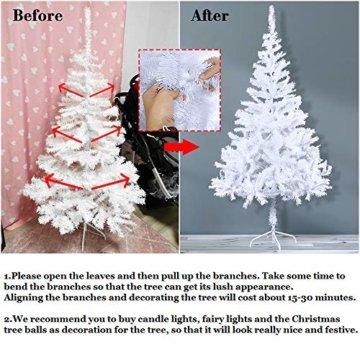 HENGMEI 210cm PVC Weihnachtsbaum Tannenbaum Christbaum Weiß künstlicher mit Metallständer ca.750 Spitzen Lena Weihnachtsdeko (Weiß PVC, 210cm) - 8