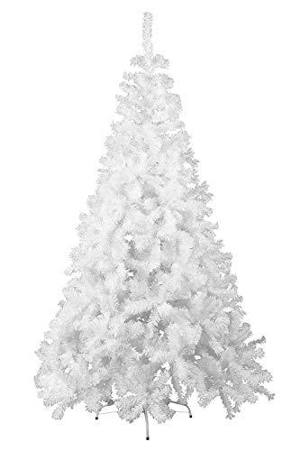 HENGMEI 210cm PVC Weihnachtsbaum Tannenbaum Christbaum Weiß künstlicher mit Metallständer ca.750 Spitzen Lena Weihnachtsdeko (Weiß PVC, 210cm) - 1