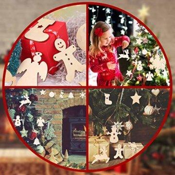 Herefun Holz Christbaumschmuck, 72 Stück Weihnachtsanhänger Holz, Weihnachts Holz-Anhänger Weihnachtsanhänger Deko, Weihnachtlicher Baumschmuck, Weihnachtsbaum Deko, Weihnachtsdeko zum Aufhängen - 6