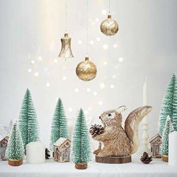 Herefun Mini Weihnachtsbaum Künstlicher, 9 Stück Mini Tannenbaum Künstlich mit Schnee-Effek, Weihnachtsdeko Weihnachten Tischdeko DIY Grün Klein Mini Christbaum 10/15 /20 cm - 3