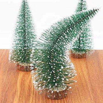 Herefun Mini Weihnachtsbaum Künstlicher, 9 Stück Mini Tannenbaum Künstlich mit Schnee-Effek, Weihnachtsdeko Weihnachten Tischdeko DIY Grün Klein Mini Christbaum 10/15 /20 cm - 5