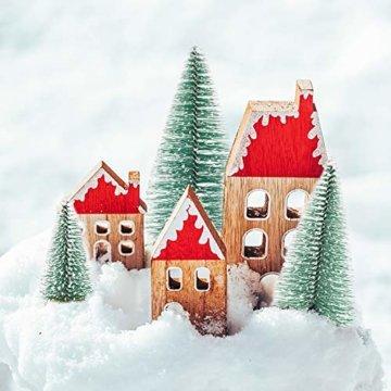 Herefun Mini Weihnachtsbaum Künstlicher, 9 Stück Mini Tannenbaum Künstlich mit Schnee-Effek, Weihnachtsdeko Weihnachten Tischdeko DIY Grün Klein Mini Christbaum 10/15 /20 cm - 7