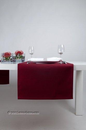 Hochwertiger Tischläufer aus Baumwolle. Tischtuch, Tischdecke. Große Auswahl an Farben. (Weinrot) - 3