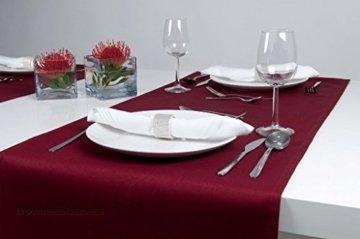 Hochwertiger Tischläufer aus Baumwolle. Tischtuch, Tischdecke. Große Auswahl an Farben. (Weinrot) - 4