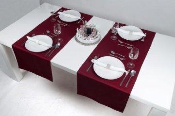 Hochwertiger Tischläufer aus Baumwolle. Tischtuch, Tischdecke. Große Auswahl an Farben. (Weinrot) - 5
