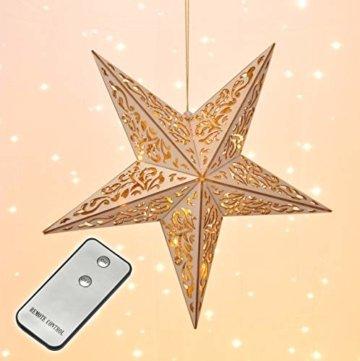 Holzstern mit Fernbedienung 40cm LED beleuchteter Stern Weihnachts Fenster Deko - 3