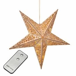 Holzstern mit Fernbedienung 40cm LED beleuchteter Stern Weihnachts Fenster Deko - 1