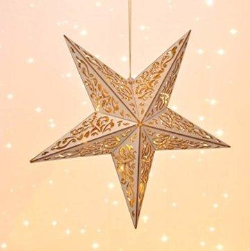 Holzstern mit Fernbedienung 40cm LED beleuchteter Stern Weihnachts Fenster Deko - 5