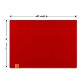 homeasy Platzdeckchen Rot Filz Tischuntersetzer Abwischbar 4er Tischset Abstellen von Tellern, Tassen und Gläsern für Zuhause Restaurant Speisetisch - 3