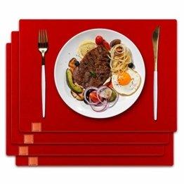 homeasy Platzdeckchen Rot Filz Tischuntersetzer Abwischbar 4er Tischset Abstellen von Tellern, Tassen und Gläsern für Zuhause Restaurant Speisetisch - 1