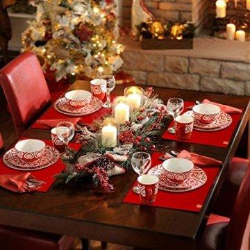 homeasy Platzdeckchen Rot Filz Tischuntersetzer Abwischbar 4er Tischset Abstellen von Tellern, Tassen und Gläsern für Zuhause Restaurant Speisetisch - 4