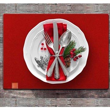 homeasy Platzdeckchen Rot Filz Tischuntersetzer Abwischbar 4er Tischset Abstellen von Tellern, Tassen und Gläsern für Zuhause Restaurant Speisetisch - 7